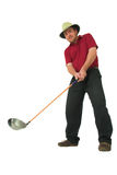 Man playing golf #1. Man playing golf, aiming to take a swing with his club Royalty Free Stock Image