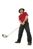 Man playing golf #1. Man playing golf, aiming to take a swing with his club Royalty Free Stock Photo