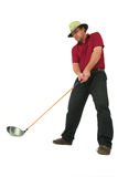 Man playing golf #1. Man playing golf, aiming to take a swing with his club Royalty Free Stock Images