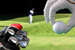 Man playing golf. With golf bag Stock Photo