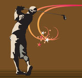 Man playing golf. On floral back ground ,wood cut style Stock Images