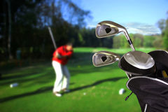 Man playing golf. With golf instruments Stock Image