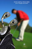 Man playing golf,copy-space. Man playing golf place for copy-space Stock Images