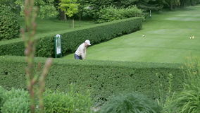 Man playing golf with flower in the front