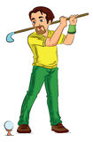 Man Playing Golf, illustration Stock Photo