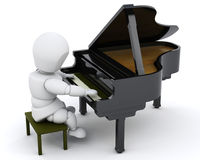 Man playing a grand piano. 3D render of a man playing a grand piano Royalty Free Stock Image