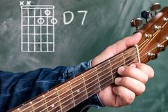 Man playing guitar chords displayed on a blackboard, Chord D 7. Man in a blue denim shirt playing guitar chords displayed on a blackboard, Chord D 7 Royalty Free Stock Photo
