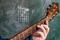 Man playing guitar chords displayed on a blackboard, Chord F. Man in a blue denim shirt playing guitar chords displayed on a blackboard, Chord F Stock Photo