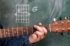 Man playing guitar chords displayed on a blackboard, Chord G Royalty Free Stock Photography