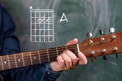 Man playing guitar chords displayed on a blackboard, Chord A Stock Image
