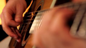 Man playing guitar close up 3 stock video footage