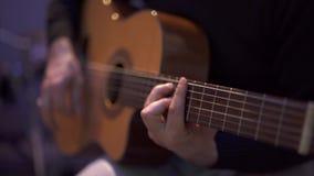 Man Playing Guitar. Close Up stock footage