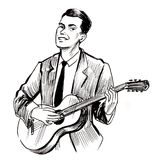 Man playing a guitar. Ink black and white drawing of a man playing a guitar Royalty Free Stock Photography