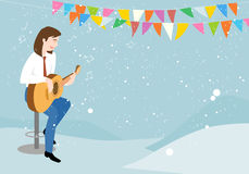 The man playing the guitar and singing happily. Stock Photography
