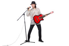 Man playing guitar and singing isolated. On white Royalty Free Stock Image