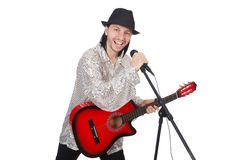 Man playing guitar and singing isolated. On white Royalty Free Stock Photos