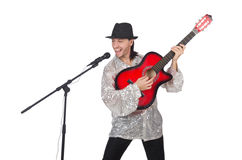 Man playing guitar and singing isolated. On white Royalty Free Stock Photo