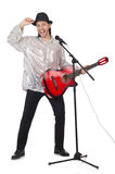 Man playing guitar and singing isolated. On white Royalty Free Stock Images