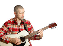 Man playing guitar. On a white background Stock Image