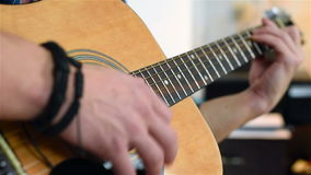 Man Playing On Guitar stock video footage