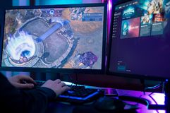 Man playing at Heroes of The Storm game. WROCLAW, POLAND - FEBRUARY 02th, 2018: HotS is a multiplayer online battle arena video game developed and published by Stock Photo