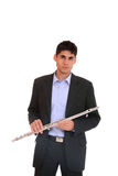 Man playing his flute. Stock Photo