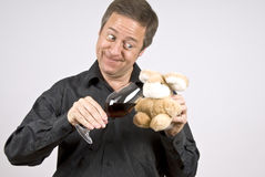Man Playing with His Toy Bunny royalty free stock photo