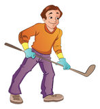 Man Playing Hockey, illustration Royalty Free Stock Photo