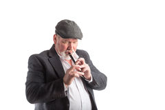 Man playing a Irish penny whistle Stock Photo