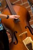 Man playing jazz Bass. Close up detail of Man playing jazz Bass Royalty Free Stock Photos