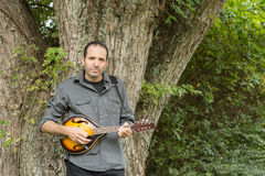 Man Playing Mandolin Against a Tree Royalty Free Stock Photography