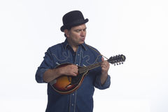 Man playing mandolin, horizontal Royalty Free Stock Photos
