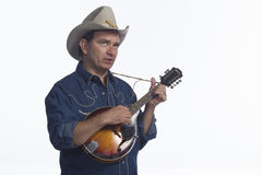 Man playing mandolin, horizontal Royalty Free Stock Photography