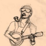 Man playing music sketch Royalty Free Stock Photo