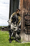Man playing paintball. Game outdoor royalty free stock photography