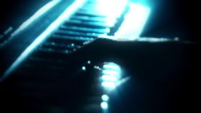 Man Playing a Particles Piano - Hands Close Up - Motion Background. Glowing Man Playing a Particles Piano - Hands Close Up - Motion Background Backdrop stock footage