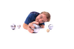 Man is playing petanque Stock Photo