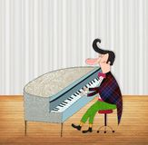 A man playing the piano. Colorful graphic illustration for children Royalty Free Stock Images