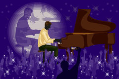Man playing piano in Music band performance Royalty Free Stock Photography