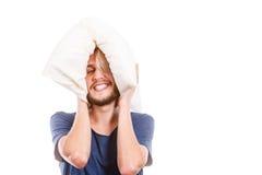 Man playing with pillow, good sleep concept Stock Photo
