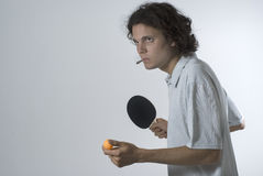 Man Playing Ping Pong - horizontal Stock Photography