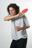 Man Playing Ping Pong - vertical Royalty Free Stock Image
