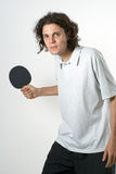 Man Playing Ping Pong - vertical Royalty Free Stock Image