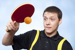 Man playing ping pong Stock Photos