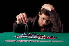 Man playing poker Stock Photo