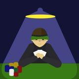 Man playing poker cartoon vector illustration Stock Photography
