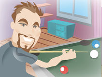 Man playing pool. Cartoon illustration of smiling young man playing pool Royalty Free Stock Images