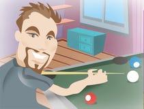 Man playing pool stock illustration