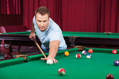 Man playing pool. Stock Photos