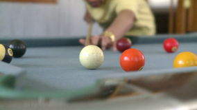 Man playing pool three shots stock video